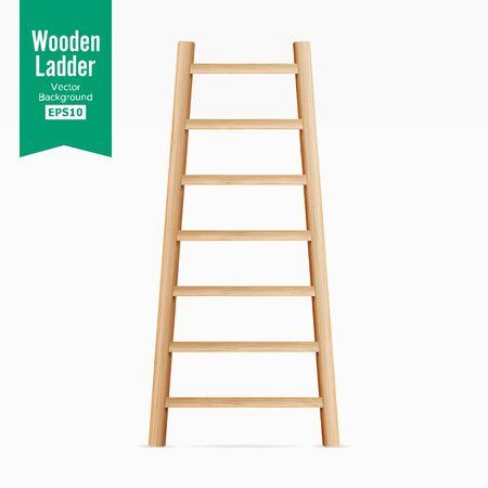 Holzleiter. Getrennt Auf Weißem Hintergrund. Realistisch Standard-Bild