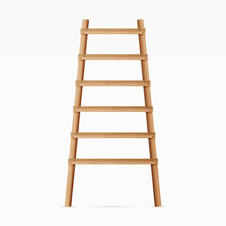 Wooden Ladder . Isolated On White Background. Realistic