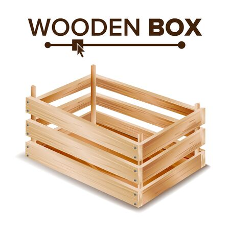 Wooden Box . Empty Wooden Crate. Empty Fruit Box. Isolated On White Background Illustration Stock Photo