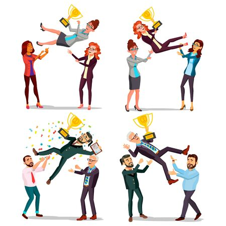 Winner Business People Set . Man, Woman. Throwing Colleague Up. Colleague Celebrating Goal Achievement. First. Prize. Holding Golden Cup. Champion Number One. Cartoon Illustration