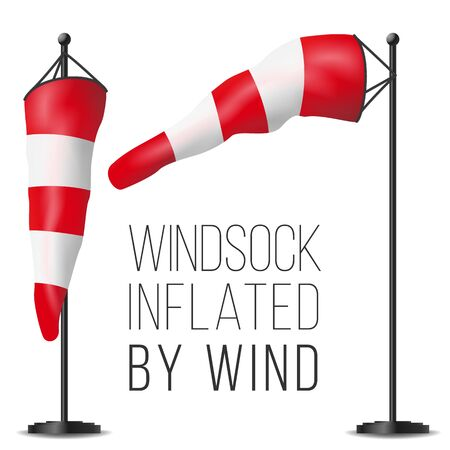 Windsock . Realistic Meteorology Windsock Inflated By Wind. Red And White