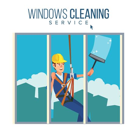 Skyscraper Cleaning Service . Man With Bucket Of Water And Scraper. Professional Worker Cleaning Windows. Isolated On White Cartoon Character Illustration Stock Photo