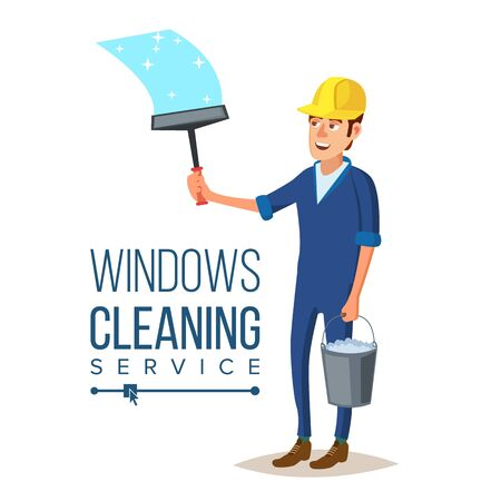 Windows Cleaning Service . Window Washer Is Cleaning High Building. Washing Windows Of The Modern Building. Flat Cartoon Illustration