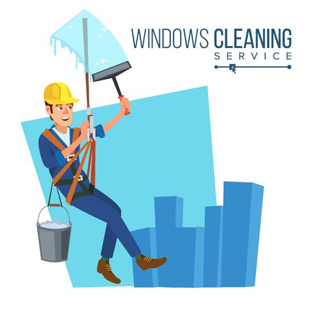 Windows Cleaning Worker . Professional Worker Cleaning Windows. Modern Skyscraper. High Risk Work. Isolated Flat Cartoon Character Illustration Stock fotó