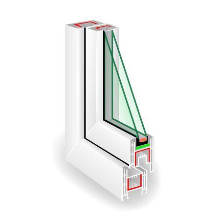 Plastic Window Frame Profile. Two Glass. Stock Photo