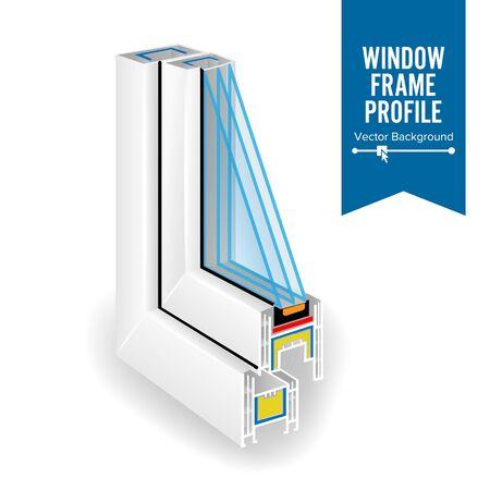 Plastic Profile Energy Saving Window. Three Glass.