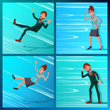 Business Person Go Against Wind, Falling Down . Against Obstacles. Opposite Direction. Opponent, Finance Miskate, Business Bankruptcy, Work Crisis. Failure. Office Worker Illustration