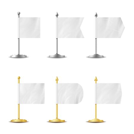 Blank White Flags Pocket Table . Realistic Template Set For Business Promotion And Advertising Stock Photo