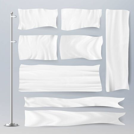 Realistic Template Blank White Flags . Advertising Flag Banner And Fabric Canvas Poster For Advertising