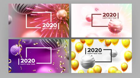 Beautiful Invitation Card Celebrating 2020 . Realistic Bright Fireworks, Sphere And White 2020 Two Thousand Twenty Frame Invite On Party. Stylish Colorful Horizontal Postcard 3d Illustration