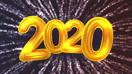 2020 Happy New Year Party Firework Banner . Golden Glossy Two Thousand Twenty Number And Garland Or Explosion Sparkle Firework On Background. Bright Postcard Realistic 3d Illustration