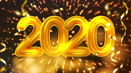 2020 Happy Christmas Holiday Party Banner . Golden Oogley Two Thousand Twenty 2020 Decorated Glitter Confetti And Explosion Fireworks On Background Invitation Card Realistic 3d Illustration