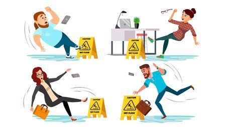 Caution Wet Floor Sign . People Slips On Wet Floor. Situation In Office. Danger Sign. Clean Wet Floor. Isolated Flat Cartoon Illustration