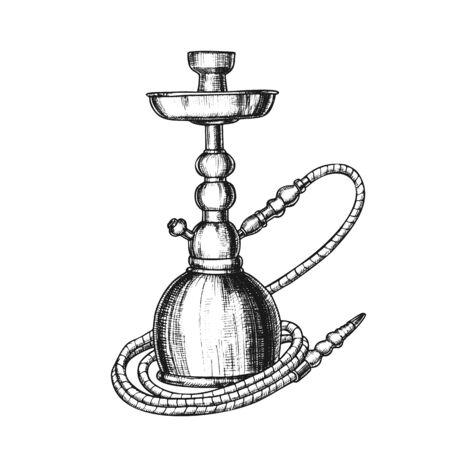 Shisha Lounge Cafe Relax Ausrüstung Retro. Stehende einstielige Wasserpfeife zum Verdampfen und Rauchen von aromatisiertem Cannabis, Tabak oder Opium. Monochrom im Retro-Stil gestaltet