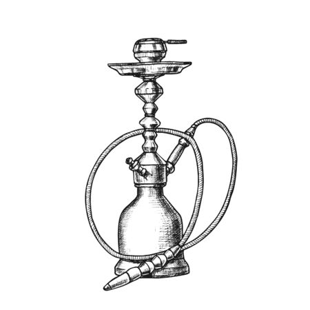 Smoking Hookah Lounge Cafe Equipment Retro . New Technologies And Modern Design Trend Changing Appearance Of Hookah. Relaxation Accessory Monochrome Designed In Retro Style Illustration Reklamní fotografie