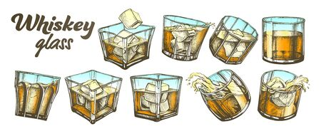 Color Collection Classical Irish Whiskey Glass Set . Different Design Glass With Strong Booze Traditional Scotch, Splash And Waves, Ice Cube And Drop. Chilled Frost Alcoholic Drink Illustration