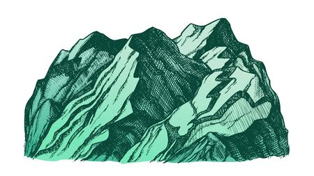 Peak Of Rocky Mountain Landscape Hand Drawn . Mountain Formed Through Geological Process Tectonic Forces. Pencil Designed Slope Clift Hill Template Color Illustration Stockfoto