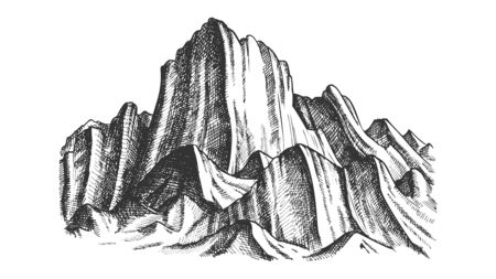 Peak Of Rocky Mountain Landscape Monochrome . Mountain Versant Rock Peak Felsenwand Adventure Wilderness Place Concept. Designed Slope Clift Template Black And White Illustration Stockfoto