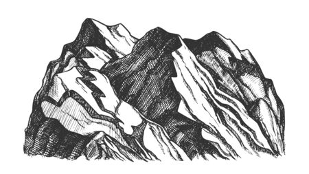 Peak Of Rocky Mountain Landscape Hand Drawn . Mountain Formed Through Geological Process Tectonic Forces. Pencil Designed Slope Clift Hill Template Black And White Illustration Stockfoto