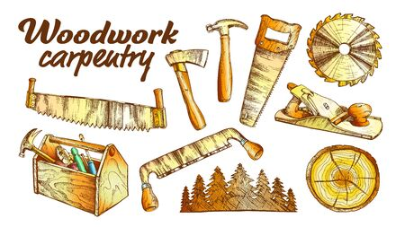 Woodwork Carpentry Collection Equipment Set . Hand Saw And Circular Blade, Wooden Slab And Forest, Tree Cross Section And Planer Tool, Hammer And Ax Carpentry Tools. Color Illustration