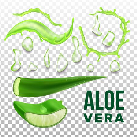 Elements Of Eco Healthcare Aloe Vera Set . Collection Details Of Herbal Healthcare Plant For Cosmetic Product. Vitamin Gel For Skin On Transparency Grid Background. Realistic Illustration