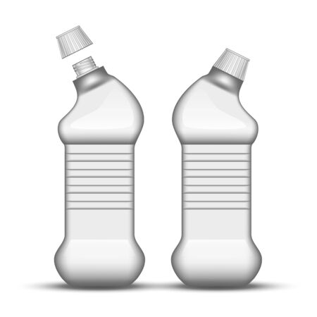 Blank Universal Cleaner Plastic Bottle . Closed And Opened Bottle For Cleaning Substance For Polishing Wooden Furniture Chemical Liquid. Template Detergent Container Realistic 3d Illustration