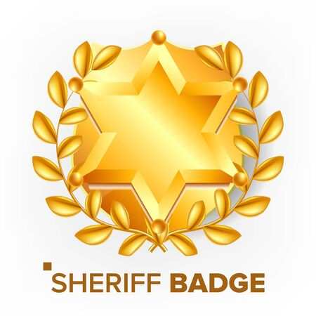 Sheriff Badge . Golden Star. Officer Icon. Detective Insignia. 3D Realistic Illustration