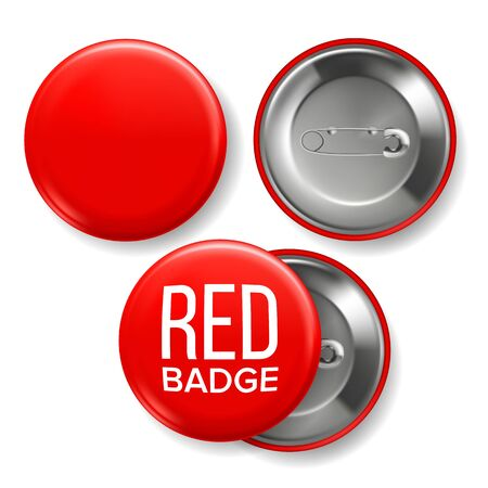 Red Badge Mockup . Pin Brooch Red Button Blank. Two Sides. Front, Back View. Branding Design Realistic Illustration Stock Photo