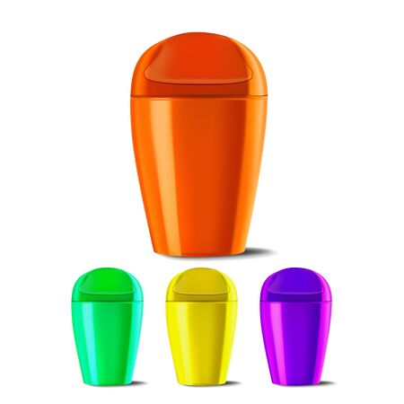 Plastic Bucket . Bucketful Different Colors. Classic Jar Empty. Container. Office, Restroom Equipment For Paper Trash. Realistic Illustration
