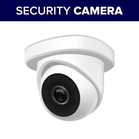 Ceiling Supervision Security Video Camera . Cctv Camera Transmit Video And Audio Signal To Wireless Receiver Through Radio Band. Privacy Monitoring Security Realistic 3d Illustration