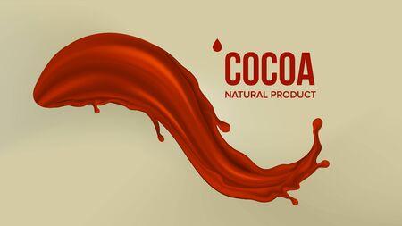 Chocolate Splash . Cream, Liquid. Milk Swirl. Brown Background. Beverage Dessert Food. 3D Realistic Illustration 스톡 콘텐츠