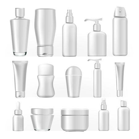 Set de botellas cosméticas. Paquete blanco de plástico vacío para productos cosméticos. Envase, tubo, botella, spray para crema, sopa líquida, champú, diseño de marca de gel de loción. Ilustración realista Foto de archivo