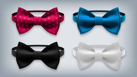 Bow Tie Set . Realistic Knot Silk Bow. Elegance Formal Suit Bowtie. Fashion Cloth, Satin Butterfly. Clothing Accessories Realistic Illustration