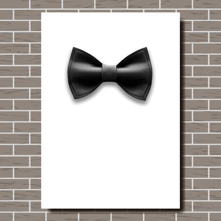 Bow Tie Poster . Empty White A4. Black Bow Tie. Classic Satin Butterfly. Place For Text. Brick Wall. Realistic Illustration Фото со стока