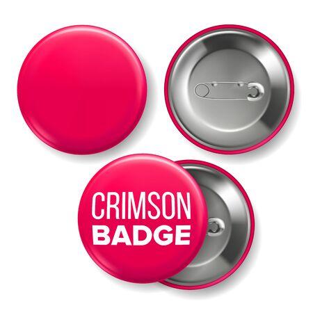 Crimson Badge Mockup . Pin Brooch Crimson Button Blank. Two Sides. Front, Back View. Branding Design Realistic Illustration Stock Photo
