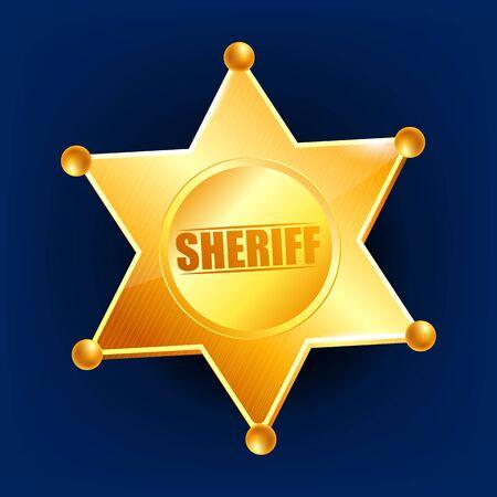 Sheriff Badge . Golden Star. Western Style. 3D Realistic Illustration
