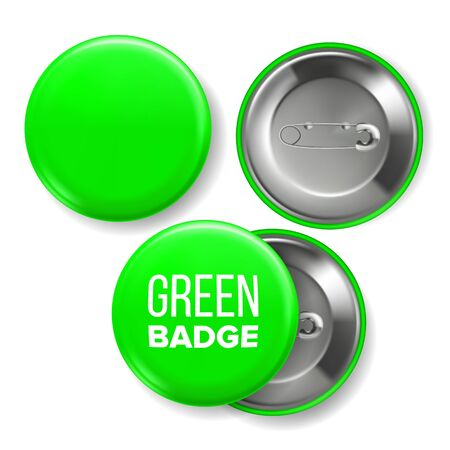 Green Badge Mockup . Pin Brooch Green Button Blank. Two Sides. Front, Back View. Branding Design Realistic Illustration