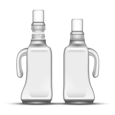 Blank Bleach Plastic Bottle With Handle . Closed And Opened With Tall Cap Bottle For Soft Potash Dry Soap Or Wash Powder. Package For Laundry Detergent Realistic 3d Illustration Stok Fotoğraf