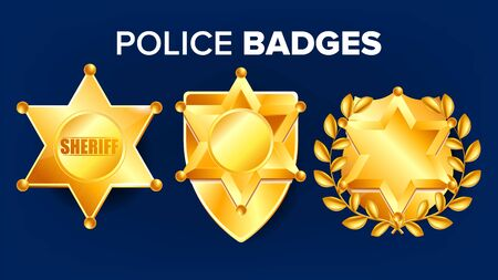 Sheriff Badge . Golden Star. Officer Icon. Detective Insignia. Sevurity Emblem. Western Style. Retro Object. Realistic Illustration