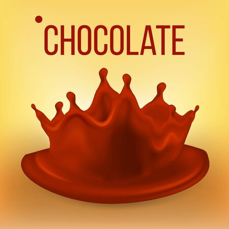 Chocolate Splash . Falling Fresh Drink. Dark Drop. Tasty Flow. Pouring Cocoa Product. 3D Realistic Illustration