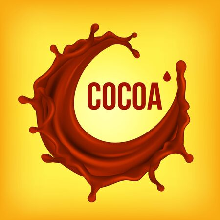 Chocolate Splash . Creamy Wave. Hot Sauce, Coffee. Brown Fluid Background. Dessert Food. 3D Realistic Illustration