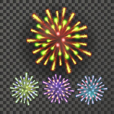 Firework . Night Carnival Light. Isolated On Background Realistic Illustration 写真素材