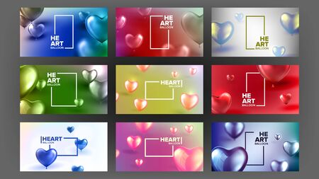 Declaration Of Love Beautiful Postcard . Symbol Of Love Realistic Sparkling Red Air Balloons In Form Of Heart And Horizontal Frame With Text On Fashionable Stylish Card. 3d Illustration Banque d'images - 128769272