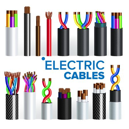 Electric Cables Set . Copper Wire. Electrician Rubber Cord. Industrial Network Power. Electricity Energy. Communication Connection Component. 3D Realistic Illustration Stockfoto