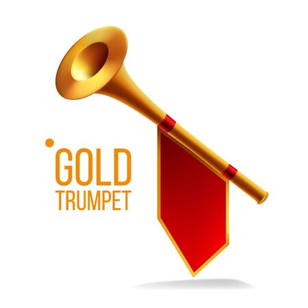 Gold Trumpet . Fanfare Horn. Musical Herald Object. Loud Instrument. Realistic Illustration Фото со стока