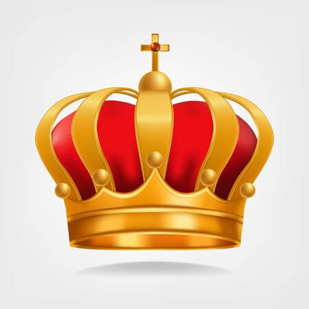 Gold Crown . King Design. Royal Icon. Isolated Realistic Illustration Stock Photo
