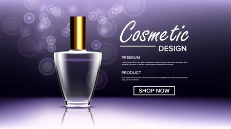 Cosmetic Glass Poster . Bottle. Premium Jar. Medical Moisturizer. 3D Realistic Mockup Template Illustration
