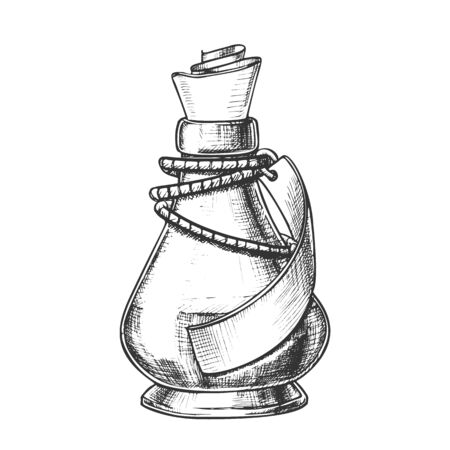 Creative Potion Glass Bottle Phial Ink Vector. Mixture Bottle Decorated Blank Ribbon On Planted Yarn. Liquid In Conic Vial Template Hand Drawn In Retro Style Black And White Illustration