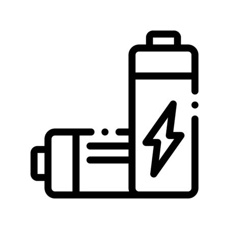 Useless Electric Battery Thin Line Icon. Battery Industrial Environmental Pollution, Chemical Contamination Linear Pictogram. Dirty Soil, Water, Air Contour Illustration