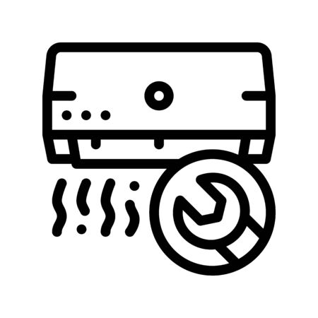Repair Air Conditioner Fan Thin Line Icon. Conditioner Temperature Room Technology Indoor Unit And Engineer Wrench Key Linear Pictogram. Conditioning Maintenance Contour Illustration
